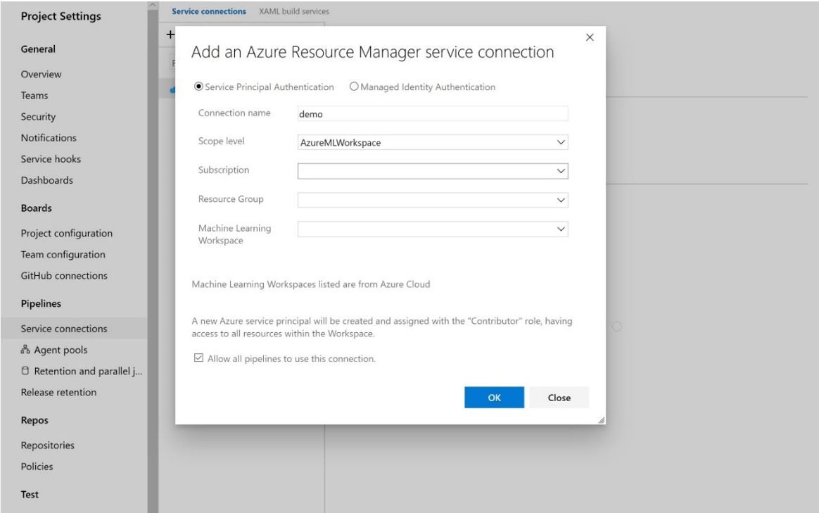 Select AzureMLWorkspace for the scope level